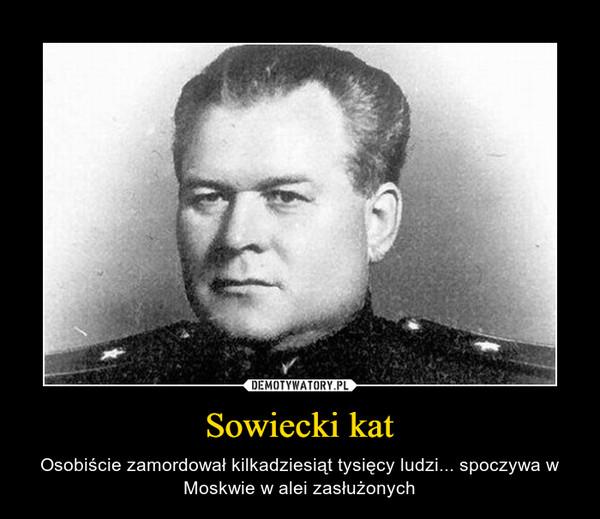 Sowiecki kat – Osobiście zamordował kilkadziesiąt tysięcy ludzi... spoczywa w Moskwie w alei zasłużonych