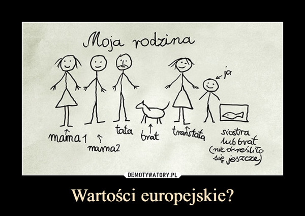 Wartości europejskie? –  Moja rodzinamama mama2 tata brat transtata siostra lub brat (nie określiło się jeszcze)