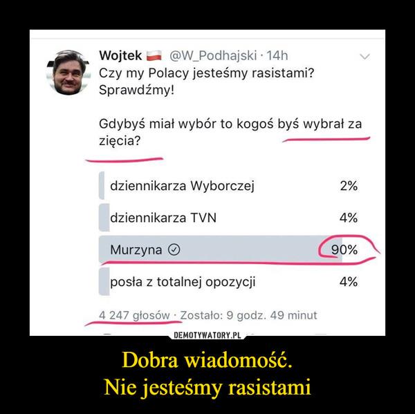 Dobra wiadomość.Nie jesteśmy rasistami –   Czy my Polacy jesteśmy rasistami? Sprawdźmy! Gdybyś miał wybór to kogoś byś wybrał za zięcia? dziennikarza Wyborczej 2% dziennikarza TVN 4% Murzyna posła z totalnej opozycji 4% 4 247 głosów Zostało: 9 godz. 49 minut