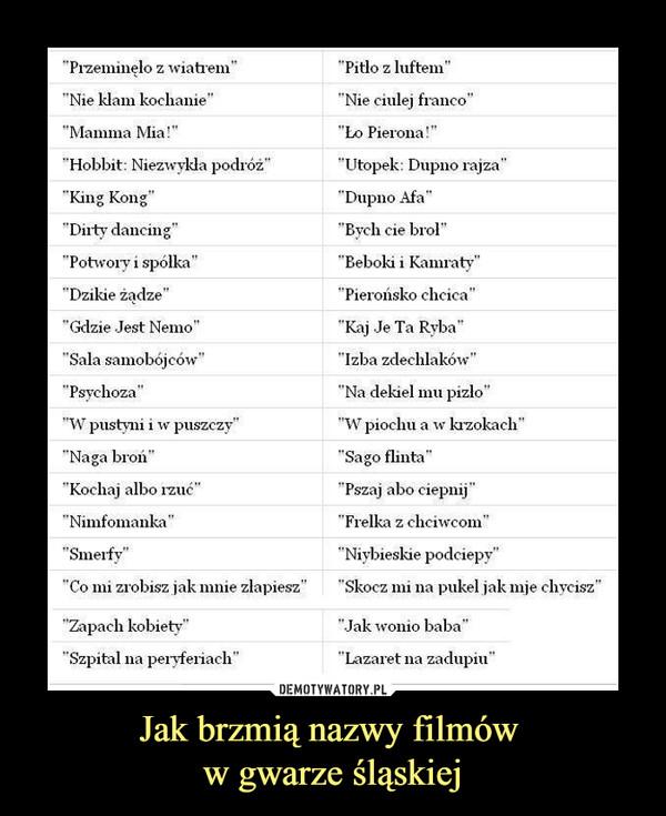 Jak brzmią nazwy filmów w gwarze śląskiej –