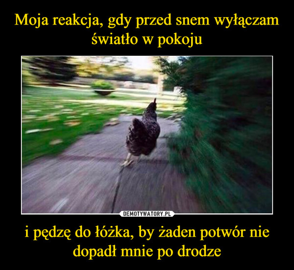 i pędzę do łóżka, by żaden potwór nie dopadł mnie po drodze –