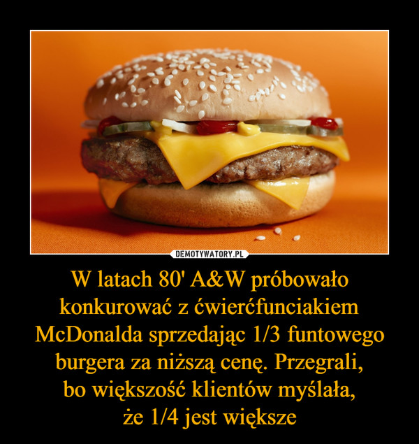 W latach 80' A&W próbowało konkurować z ćwierćfunciakiem McDonalda sprzedając 1/3 funtowego burgera za niższą cenę. Przegrali, bo większość klientów myślała, że 1/4 jest większe –