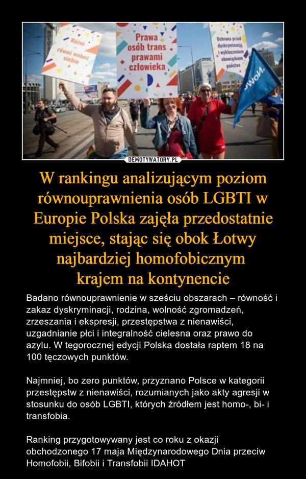 W rankingu analizującym poziom równouprawnienia osób LGBTI w Europie Polska zajęła przedostatnie miejsce, stając się obok Łotwy najbardziej homofobicznym krajem na kontynencie – Badano równouprawnienie w sześciu obszarach – równość i zakaz dyskryminacji, rodzina, wolność zgromadzeń, zrzeszania i ekspresji, przestępstwa z nienawiści, uzgadnianie płci i integralność cielesna oraz prawo do azylu. W tegorocznej edycji Polska dostała raptem 18 na 100 tęczowych punktów.Najmniej, bo zero punktów, przyznano Polsce w kategorii przestępstw z nienawiści, rozumianych jako akty agresji w stosunku do osób LGBTI, których źródłem jest homo-, bi- i transfobia.Ranking przygotowywany jest co roku z okazji obchodzonego 17 maja Międzynarodowego Dnia przeciw Homofobii, Bifobii i Transfobii IDAHOT