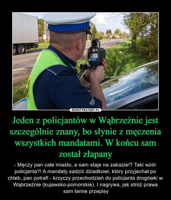Jeden z policjantów w Wąbrzeźnie jest szczególnie znany, bo słynie z męczenia wszystkich mandatami. W końcu sam został złapany – - Męczy pan całe miasto, a sam staje na zakazie!? Taki wzór policjanta?! A mandaty sadzić dziadkowi, który przyjechał po chleb, pan potrafi - krzyczy przechodzień do policjanta drogówki w Wąbrzeźnie (kujawsko-pomorskie). I nagrywa, jak stróż prawa sam łamie przepisy