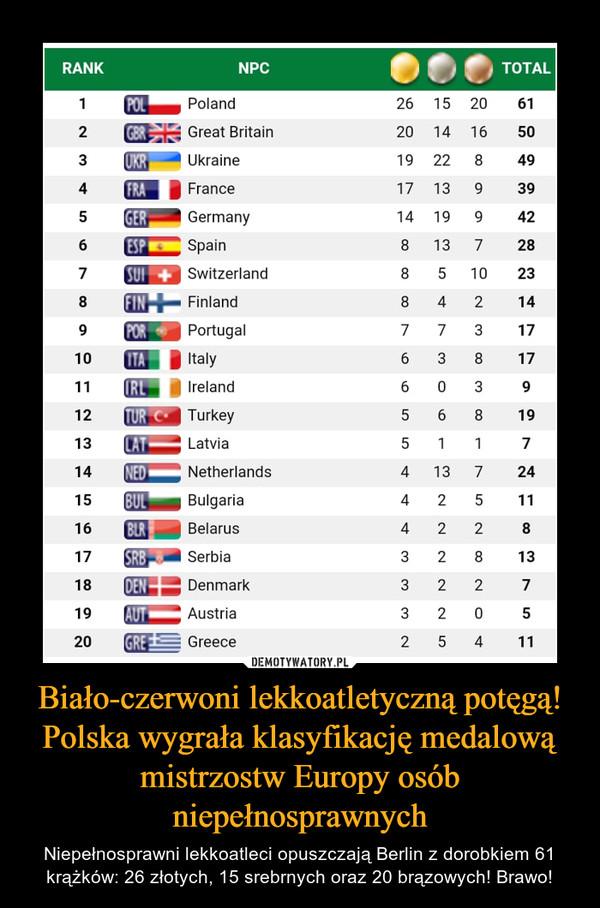 Biało-czerwoni lekkoatletyczną potęgą! Polska wygrała klasyfikację medalową mistrzostw Europy osób niepełnosprawnych – Niepełnosprawni lekkoatleci opuszczają Berlin z dorobkiem 61 krążków: 26 złotych, 15 srebrnych oraz 20 brązowych! Brawo!