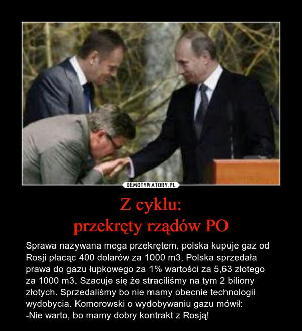 Z cyklu:przekręty rządów PO – Sprawa nazywana mega przekrętem, polska kupuje gaz od Rosji płacąc 400 dolarów za 1000 m3, Polska sprzedała prawa do gazu łupkowego za 1% wartości za 5,63 złotego za 1000 m3. Szacuje się że straciliśmy na tym 2 biliony złotych. Sprzedaliśmy bo nie mamy obecnie technologii wydobycia. Komorowski o wydobywaniu gazu mówił:-Nie warto, bo mamy dobry kontrakt z Rosją!