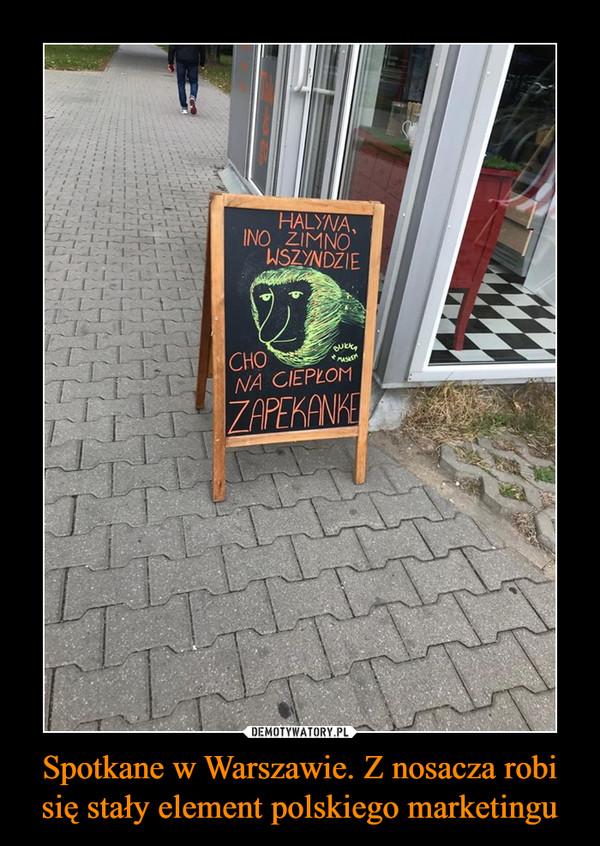 Spotkane w Warszawie. Z nosacza robi się stały element polskiego marketingu –  HALYNA, INO ZIMNO WSZYNDZIECHO NA CIEPŁOM ZAPEKANKE