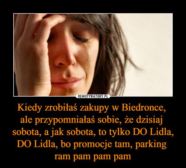 Kiedy zrobiłaś zakupy w Biedronce, ale przypomniałaś sobie, że dzisiaj sobota, a jak sobota, to tylko DO Lidla, DO Lidla, bo promocje tam, parking ram pam pam pam –