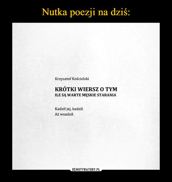 –  Krzysztof Kościelski Krótki wiersz o tym ile są warte męskie starania Kadził jej, kadził. Aż wsadził