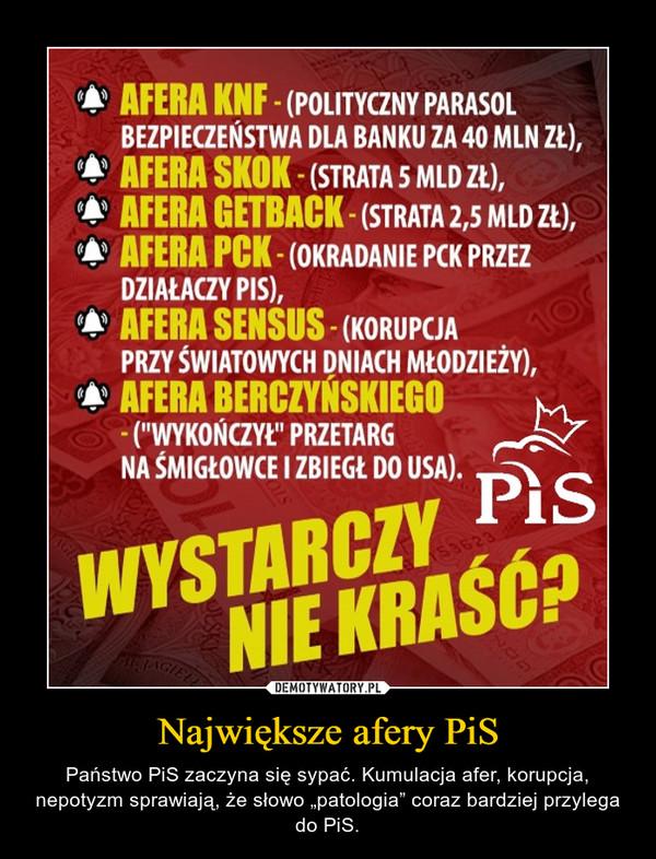 """Największe afery PiS – Państwo PiS zaczyna się sypać. Kumulacja afer, korupcja, nepotyzm sprawiają, że słowo """"patologia"""" coraz bardziej przylega do PiS."""