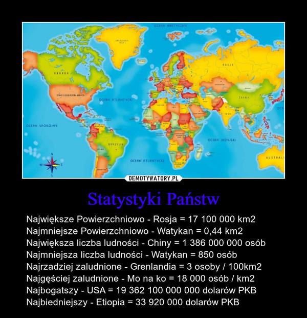 Statystyki Państw – Największe Powierzchniowo - Rosja = 17 100 000 km2Najmniejsze Powierzchniowo - Watykan = 0,44 km2Największa liczba ludności - Chiny = 1 386 000 000 osóbNajmniejsza liczba ludności - Watykan = 850 osóbNajrzadziej zaludnione - Grenlandia = 3 osoby / 100km2Najgęściej zaludnione - Mo na ko = 18 000 osób / km2Najbogatszy - USA = 19 362 100 000 000 dolarów PKBNajbiedniejszy - Etiopia = 33 920 000 dolarów PKB