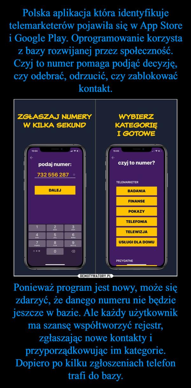 Ponieważ program jest nowy, może się zdarzyć, że danego numeru nie będzie jeszcze w bazie. Ale każdy użytkownik ma szansę współtworzyć rejestr, zgłaszając nowe kontakty i przyporządkowując im kategorie. Dopiero po kilku zgłoszeniach telefon trafi do bazy. –