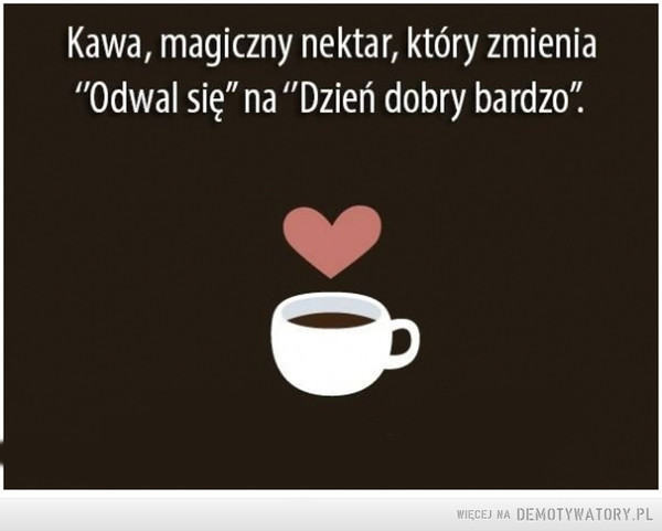 """Magia kawy –  Kawa, magiczny nektar, który zmienia""""Odwalsię"""" na """"Dzierń dobry bardzo?"""