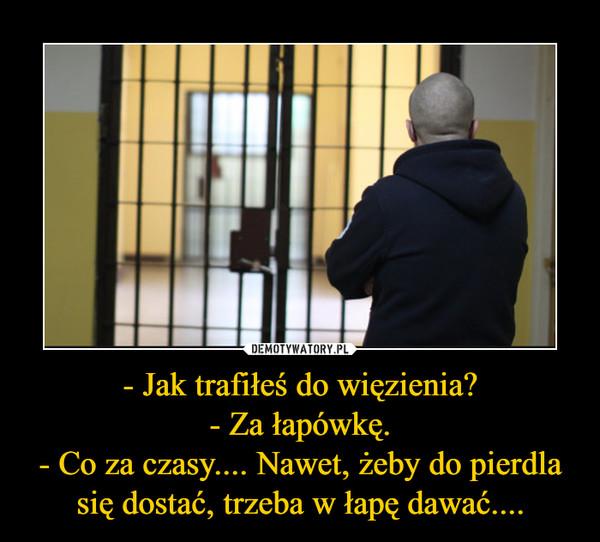 - Jak trafiłeś do więzienia?- Za łapówkę.- Co za czasy.... Nawet, żeby do pierdla się dostać, trzeba w łapę dawać.... –