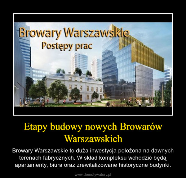 Etapy budowy nowych Browarów Warszawskich – Browary Warszawskie to duża inwestycja położona na dawnych terenach fabrycznych. W skład kompleksu wchodzić będą apartamenty, biura oraz zrewitalizowane historyczne budynki.