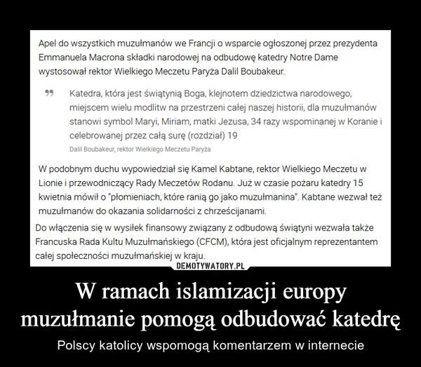 W ramach islamizacji europy muzułmanie pomogą odbudować katedrę – Polscy katolicy wspomogą komentarzem w internecie