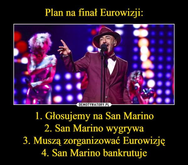 1. Głosujemy na San Marino2. San Marino wygrywa3. Muszą zorganizować Eurowizję4. San Marino bankrutuje –