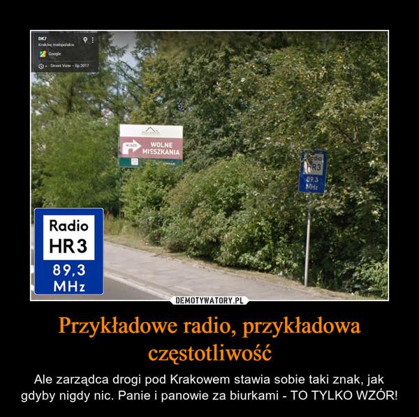 Przykładowe radio, przykładowa częstotliwość – Ale zarządca drogi pod Krakowem stawia sobie taki znak, jak gdyby nigdy nic. Panie i panowie za biurkami - TO TYLKO WZÓR!