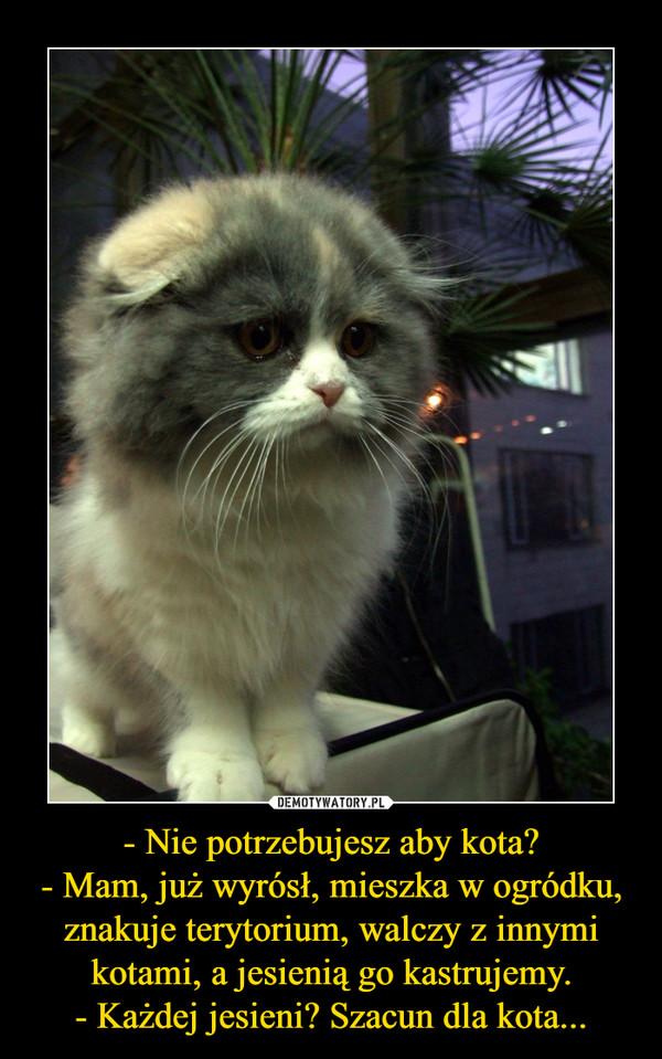 - Nie potrzebujesz aby kota?- Mam, już wyrósł, mieszka w ogródku, znakuje terytorium, walczy z innymi kotami, a jesienią go kastrujemy.- Każdej jesieni? Szacun dla kota... –
