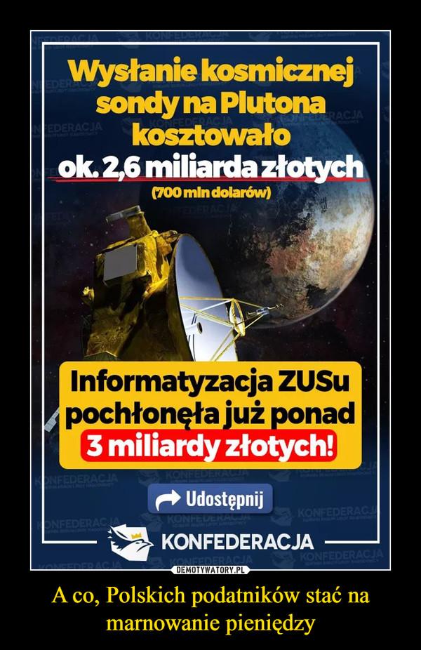 A co, Polskich podatników stać na marnowanie pieniędzy –