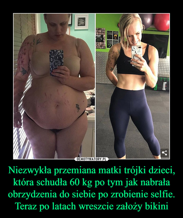 Niezwykła przemiana matki trójki dzieci, która schudła 60 kg po tym jak nabrała obrzydzenia do siebie po zrobienie selfie. Teraz po latach wreszcie założy bikini –