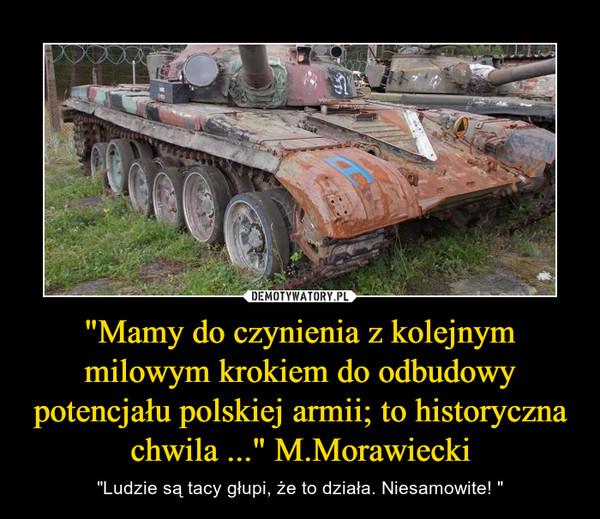 """""""Mamy do czynienia z kolejnym milowym krokiem do odbudowy potencjału polskiej armii; to historyczna chwila ..."""" M.Morawiecki – """"Ludzie są tacy głupi, że to działa. Niesamowite! """""""