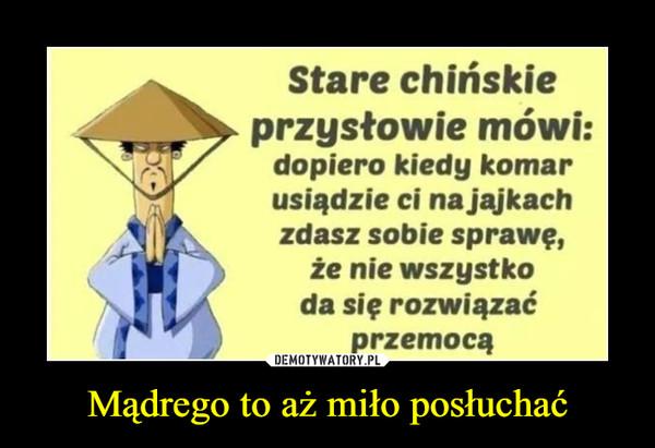 Mądrego to aż miło posłuchać –  Stare chińskie► przysłowie mówi:dopiero kiedy komarusiądzie ci na jajkachzdasz sobie sprawę,że nie wszystkoda się rozwiązaćprzemocą