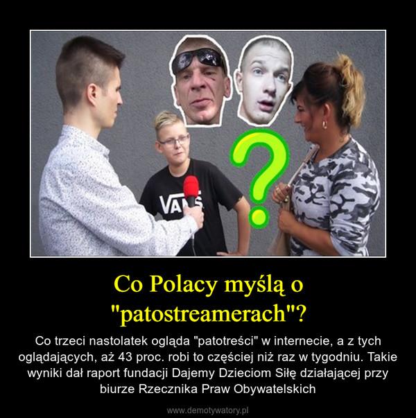 """Co Polacy myślą o """"patostreamerach""""? – Co trzeci nastolatek ogląda """"patotreści"""" w internecie, a z tych oglądających, aż 43 proc. robi to częściej niż raz w tygodniu. Takie wyniki dał raport fundacji Dajemy Dzieciom Siłę działającej przy biurze Rzecznika Praw Obywatelskich"""