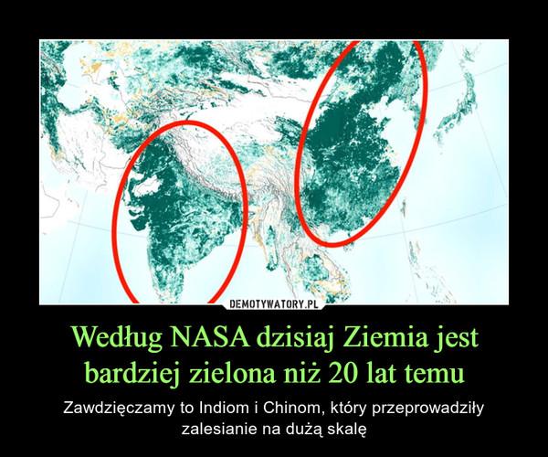 Według NASA dzisiaj Ziemia jest bardziej zielona niż 20 lat temu – Zawdzięczamy to Indiom i Chinom, który przeprowadziłyzalesianie na dużą skalę