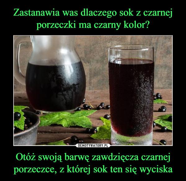 Otóż swoją barwę zawdzięcza czarnej porzeczce, z której sok ten się wyciska –