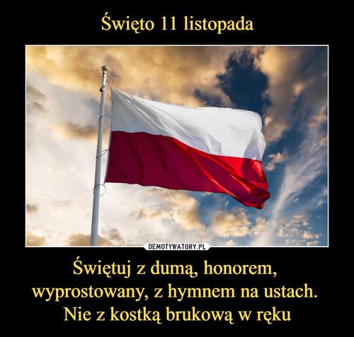 Święto 11 listopada Świętuj z dumą, honorem,  wyprostowany, z hymnem na ustach.  Nie z kostką brukową w ręku