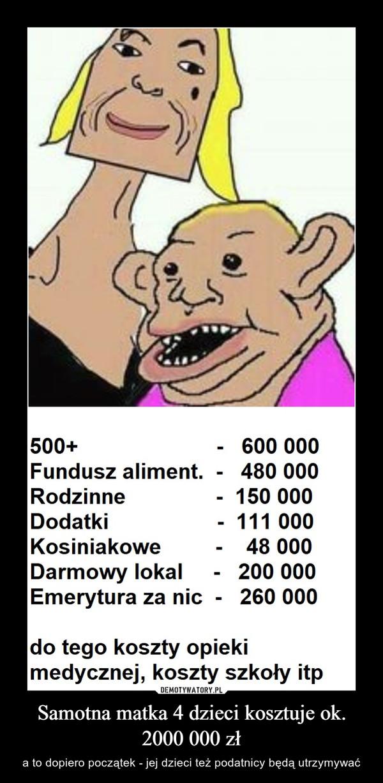 Samotna matka 4 dzieci kosztuje ok. 2000 000 zł – a to dopiero początek - jej dzieci też podatnicy będą utrzymywać