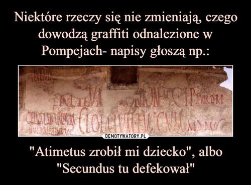 """Niektóre rzeczy się nie zmieniają, czego dowodzą graffiti odnalezione w Pompejach- napisy głoszą np.: """"Atimetus zrobił mi dziecko"""", albo """"Secundus tu defekował"""""""