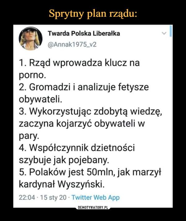 –  Twarda Polska Liberałka@Annak1975_v21. Rząd wprowadza klucz naporno.2. Gromadzi i analizuje fetyszeobywateli.3. Wykorzystując zdobytą wiedzę,zaczyna kojarzyć obywateli wpary.4. Współczynnik dzietnościszybuje jak pojebany.5. Polaków jest 50mln, jak marzyłkardynał Wyszyński.22:04 · 15 sty 20 · Twitter Web App