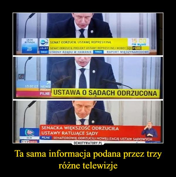 Ta sama informacja podana przez trzy różne telewizje –