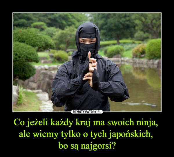 Co jeżeli każdy kraj ma swoich ninja, ale wiemy tylko o tych japońskich, bo są najgorsi? –
