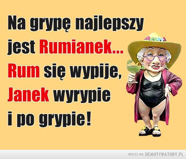 Sposób na grypę –  Na grypę najlepszyjest Rumianek...Rum się wypije,Janek wyrypiei po grypie!