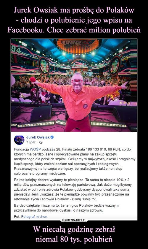Jurek Owsiak ma prośbę do Polaków - chodzi o polubienie jego wpisu na Facebooku. Chce zebrać milion polubień W niecałą godzinę zebrał niemal 80 tys. polubień