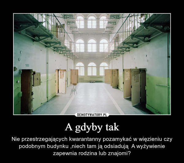 A gdyby tak – Nie przestrzegających kwarantanny pozamykać w więzieniu czy podobnym budynku ,niech tam ją odsiadują  A wyżywienie zapewnia rodzina lub znajomi?