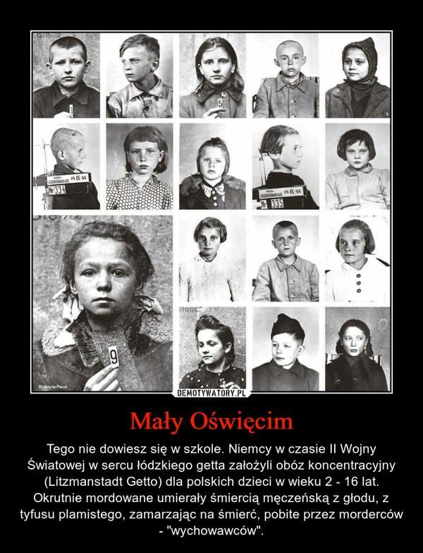 """Mały Oświęcim – Tego nie dowiesz się w szkole. Niemcy w czasie II Wojny Światowej w sercu łódzkiego getta założyli obóz koncentracyjny (Litzmanstadt Getto) dla polskich dzieci w wieku 2 - 16 lat. Okrutnie mordowane umierały śmiercią męczeńską z głodu, z tyfusu plamistego, zamarzając na śmierć, pobite przez morderców - """"wychowawców""""."""