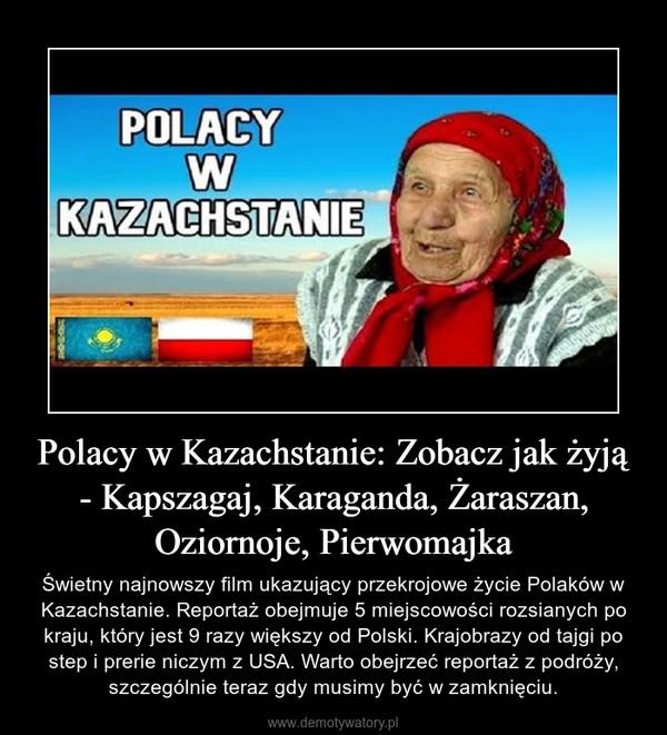Polacy w Kazachstanie: Zobacz jak żyją - Kapszagaj, Karaganda, Żaraszan, Oziornoje, Pierwomajka – Świetny najnowszy film ukazujący przekrojowe życie Polaków w Kazachstanie. Reportaż obejmuje 5 miejscowości rozsianych po kraju, który jest 9 razy większy od Polski. Krajobrazy od tajgi po step i prerie niczym z USA. Warto obejrzeć reportaż z podróży, szczególnie teraz gdy musimy być w zamknięciu.