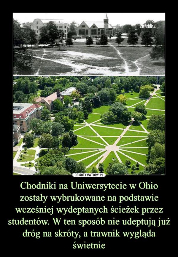 Chodniki na Uniwersytecie w Ohio zostały wybrukowane na podstawie wcześniej wydeptanych ścieżek przez studentów. W ten sposób nie udeptują już dróg na skróty, a trawnik wygląda świetnie –