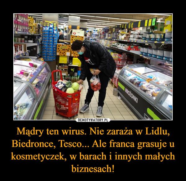 Mądry ten wirus. Nie zaraża w Lidlu, Biedronce, Tesco... Ale franca grasuje u kosmetyczek, w barach i innych małych biznesach! –