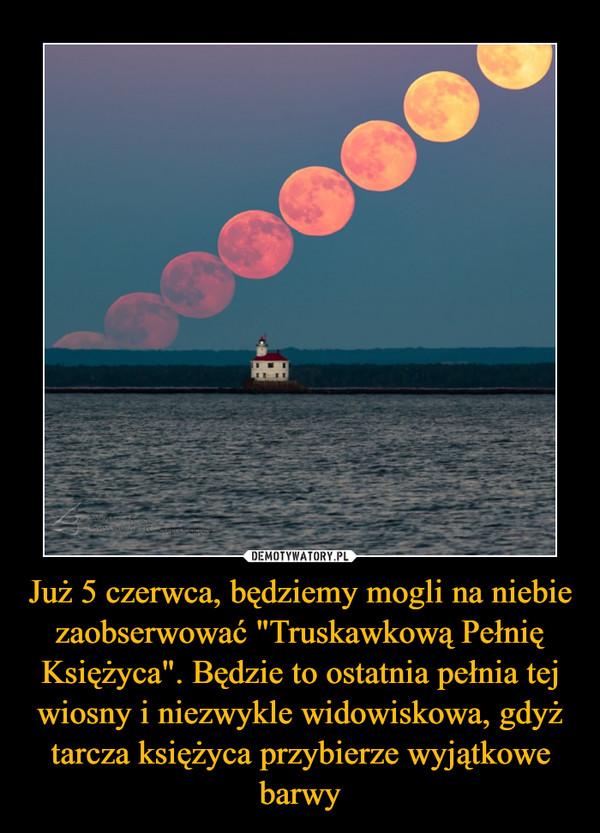 """Już 5 czerwca, będziemy mogli na niebie zaobserwować """"Truskawkową Pełnię Księżyca"""". Będzie to ostatnia pełnia tej wiosny i niezwykle widowiskowa, gdyż tarcza księżyca przybierze wyjątkowe barwy –"""