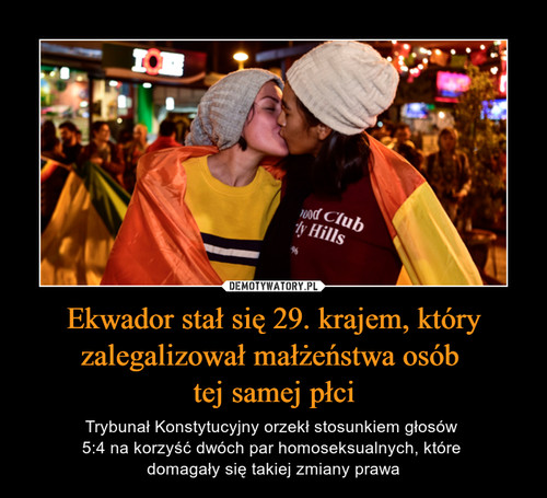 Ekwador stał się 29. krajem, który zalegalizował małżeństwa osób  tej samej płci