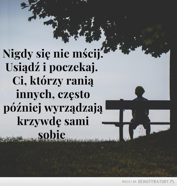 Ważna lekcja –  Nigdy się nie mścij. Usiądź i poczekaj. Ci, którzy ranią innych, często później wyrządzają krzywdę sami sobie