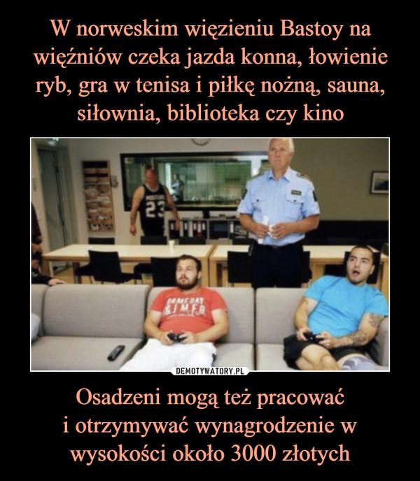 Osadzeni mogą też pracowaći otrzymywać wynagrodzenie w wysokości około 3000 złotych –