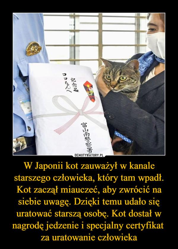 W Japonii kot zauważył w kanale starszego człowieka, który tam wpadł. Kot zaczął miauczeć, aby zwrócić na siebie uwagę. Dzięki temu udało się uratować starszą osobę. Kot dostał w nagrodę jedzenie i specjalny certyfikat za uratowanie człowieka –