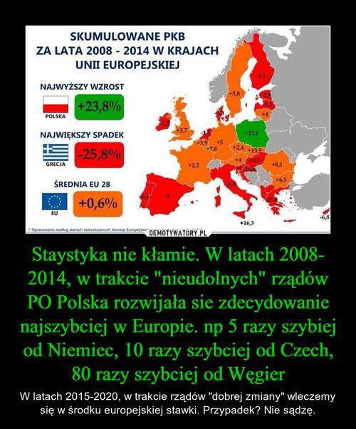"""Staystyka nie kłamie. W latach 2008- 2014, w trakcie """"nieudolnych"""" rządów PO Polska rozwijała sie zdecydowanie najszybciej w Europie. np 5 razy szybiej od Niemiec, 10 razy szybciej od Czech, 80 razy szybciej od Węgier"""
