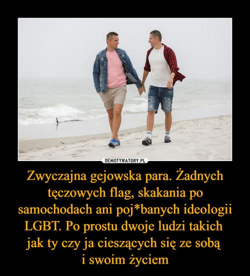 Zwyczajna gejowska para. Żadnych tęczowych flag, skakania po samochodach ani poj*banych ideologii LGBT. Po prostu dwoje ludzi takich  jak ty czy ja cieszących się ze sobą  i swoim życiem